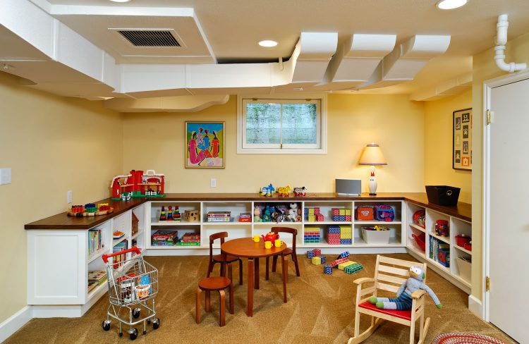 play area with custom cabinets