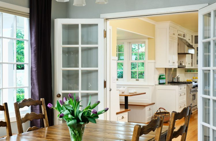 French doors lead to kitchen designed by Deb Kadas