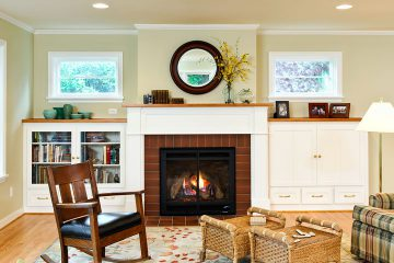 family room with fireplace & custom cabinets