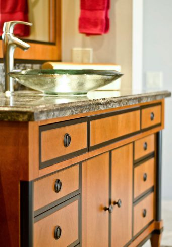 elegant master bath sink & cabinetry