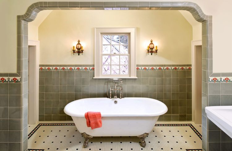 claw foot tub and custom tile